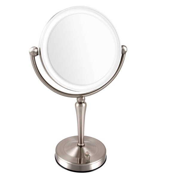 ovente 7 5 inch dimmable led lighted tabletop vanity mirror 17389954
