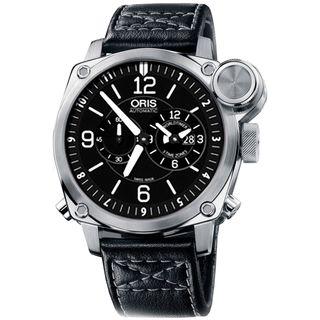 Oris Men's 69076154164LS 'BC4' Automatic Chronograph Black Leather Watch