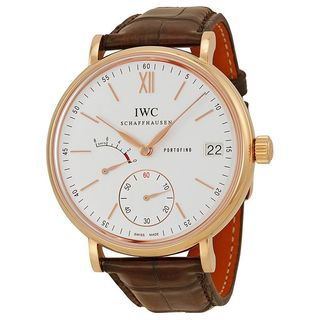 IWC Men's IW510107 'Portofino' Automatic Chronograph 18kt Rose Gold and leather Brown Leather Watch