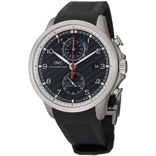 IWC Men's IW390212 'Portuguese' Automatic Chronograph Black Rubber Watch