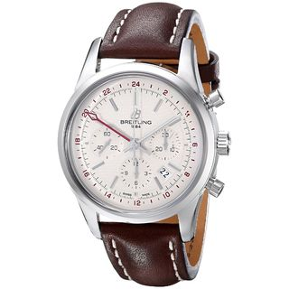 Breitling Men's AB045112-G772LS 'Transocean' Automatic Chronograph Brown Leather Watch