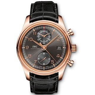 IWC Men's IW390405 'Portuguese' Automatic Chronograph 18kt Rose Gold and Black Leather Watch