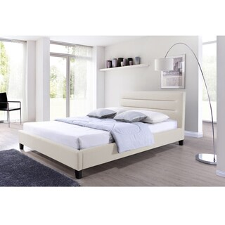 Baxton Studio Hillary Contemporary Light Beige Fabric Upholstered Platform Bed with Grid-tufted Headboard and Wood Legs