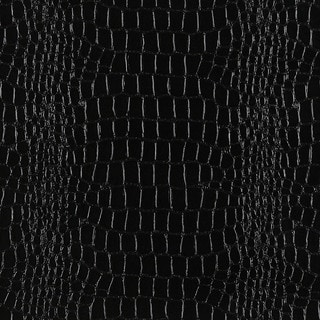 G394 Black Shiny Alligator Look Faux Leather Upholstery (By The Yard)