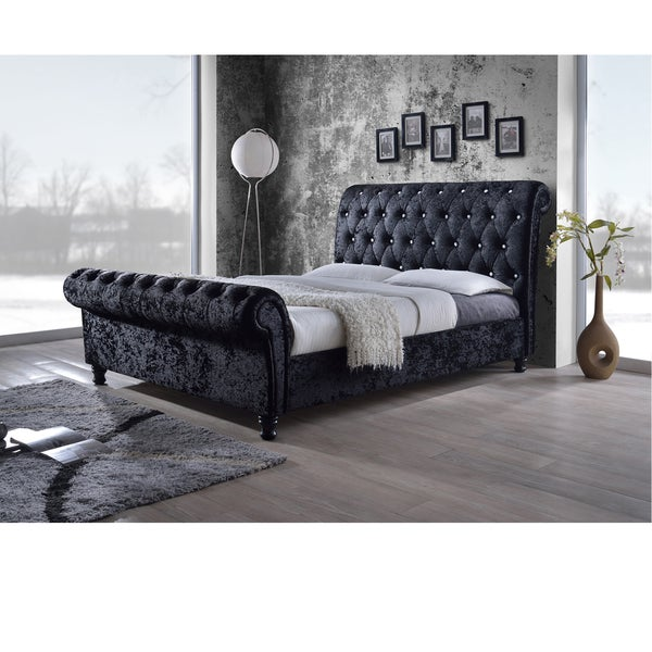 Baxton Studio Pell Contemporary Black Velvet Upholstered Platform Bed With Button Tufting Scroll Back Design And Wood Legs