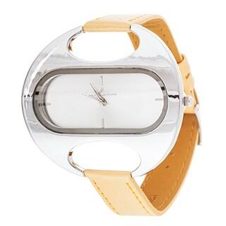 Via Nova Women's Oval Silver Case / Yellow Leather Strap Watch