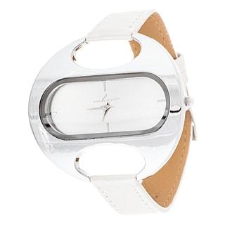 Via Nova Women's Oval Silver Case / Beige Leather Strap Watch