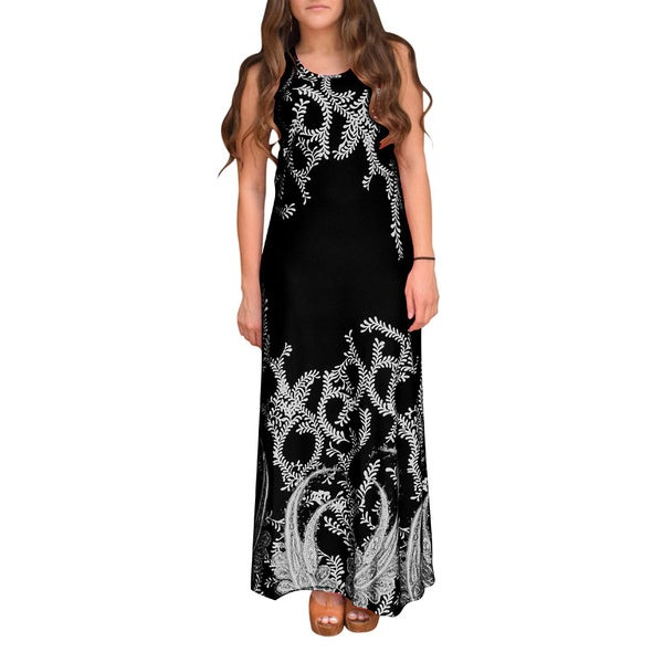 Peach Couture Women's Paisley Sleeveless Maxi Dress