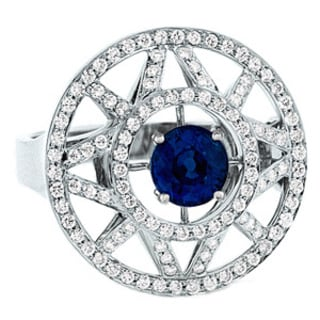 Estie G 18k White Gold Sapphire and 5/8ct TDW Diamond Ring (H-I, VS1-VS2) (Size 7)