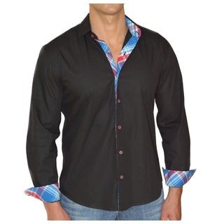 Giorgio Men's Black Ebony Button Front Sport Slim Fit Shirt