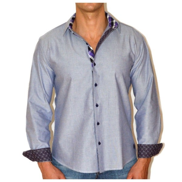Giorgio Men's Gray Chambray Button Front Sport Slim Fit Shirt