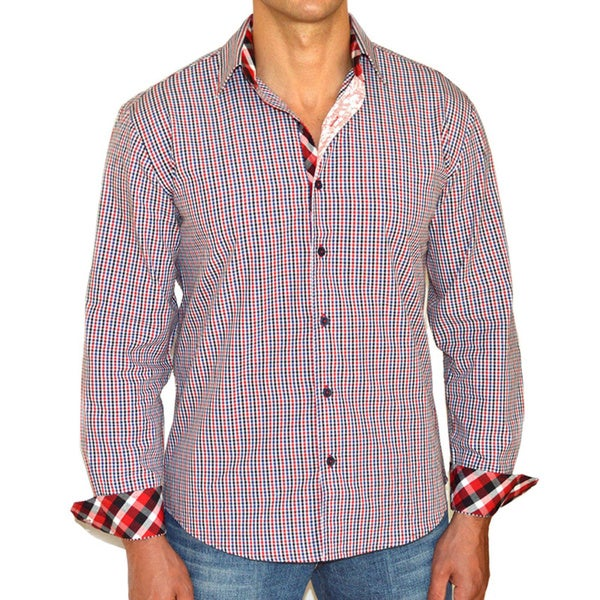 Giorgio Men's Multi-colored Gingham Button Front Sport Slim Fit Shirt