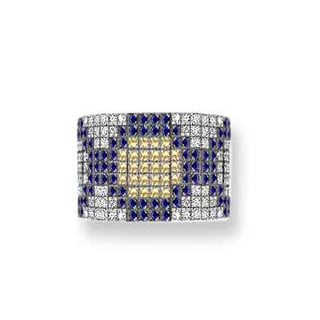 Estie G 18k White Gold Yellow and Blue Sapphire 1ct TDW Pave Diamond Ring (H-I, VS1-VS2) (Size 7)
