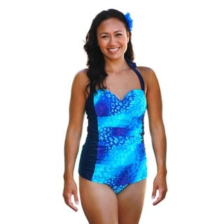 CaCelin Women's Retro Blue Cheetah One Piece