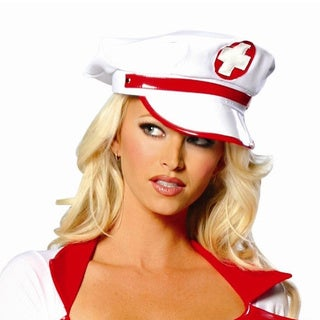 White and Red Nurse Cap with Cross