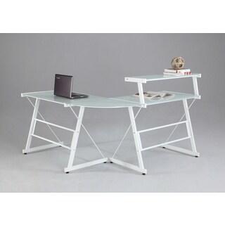 Somette L-Shaped White Office Desk with Upper Shelf