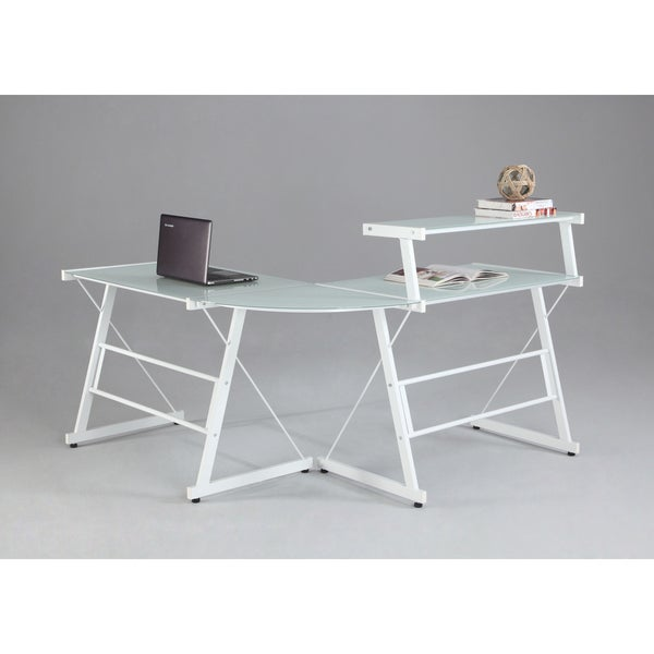 Somette L-Shaped White Office Desk with Upper Shelf