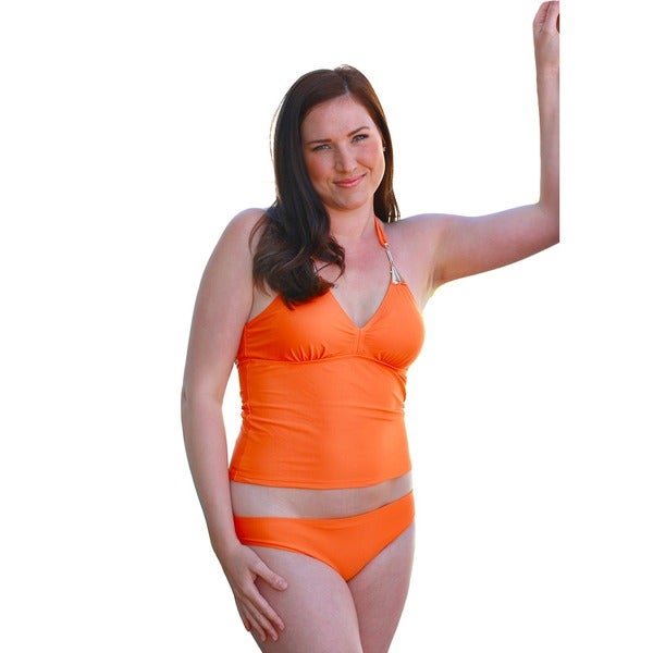 CaCelin Women's Orange Jewel Halter Tankini