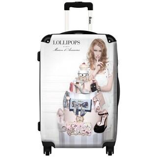 iKase Lollipops White 20-inch Hardside Carry On Spinner Upright Suitcase