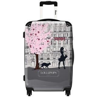 iKase Lollipops Walk Grey 20-inch Hardside Carry On Spinner Upright Suitcase