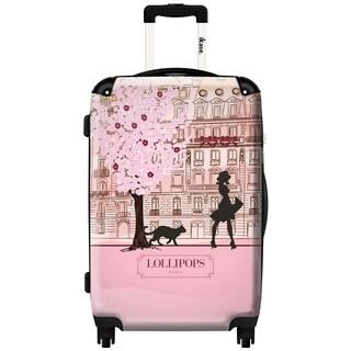 iKase Lollipops Walk Pink 20-inch Hardside Carry On Spinner Upright Suitcase
