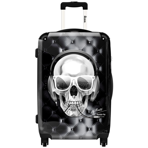 iKase Headphones Skull Black 20-inch Hardside Carry On Spinner Upright Suitcase