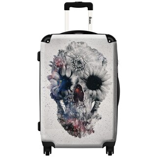 iKase Flower Skull 20-inch Hardside Carry On Spinner Upright Suitcase