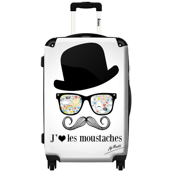 iKase Moustaches 24-inch Hardside Spinner Upright Suitcase
