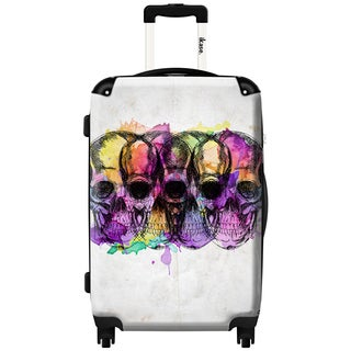 iKase Colored Skulls 24-inch Hardside Spinner Upright Suitcase