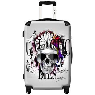 iKase Indian Skull 24-inch Hardside Spinner Upright Suitcase