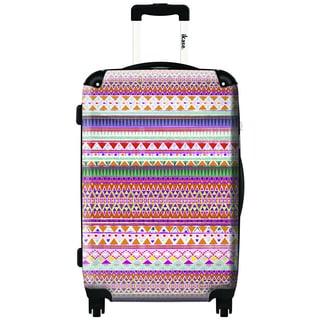 iKase Pink Inca Pattern 24-inch Hardside Spinner Upright Suitcase