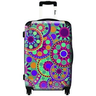 IKASE Polka Flowers 24-inch Hardside Spinner Upright Suitcase