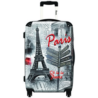 iKase Oh La La Paris 24-inch Hardside Spinner Upright Suitcase