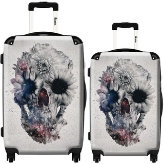 iKase Flower Skull 2-piece Hardside Spinner Luggage Set