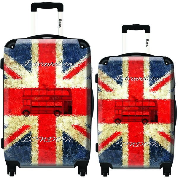 iKase I Travel to London 2-piece Hardside Spinner Luggage Set