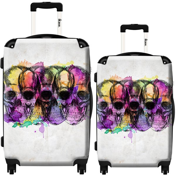 iKase Colored Skulls 2-piece Hardside Spinner Luggage Set