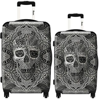 iKase Bohemian Art 2-piece Hardside Spinner Luggage Set
