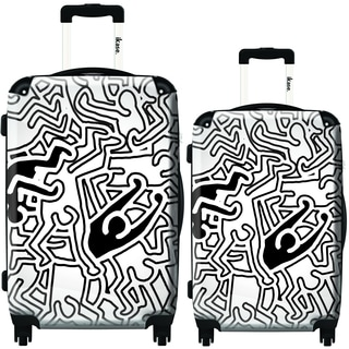 iKase Multi-Color Keith Haring 2-piece Hardside Spinner Luggage Set