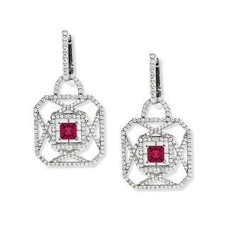Estie G 18k White Gold Asscher-cut Pink Tourmaline and 2 1/10ct TDW Diamond Earrings (H-I, VS1-VS2)