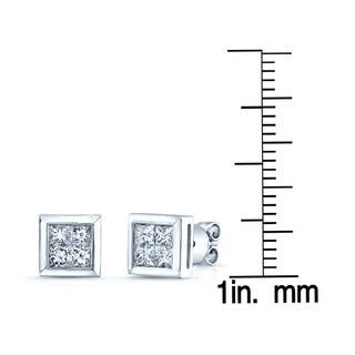Estie G 14k White Gold 1ct TDW Princess-cut Invisible-set Diamond Square Earrings