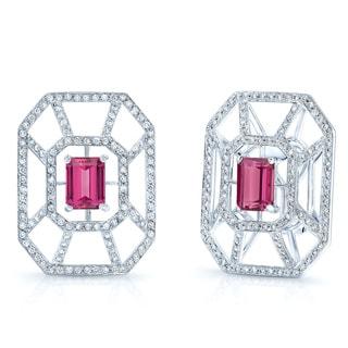 Estie G 18k White Gold Pink Tourmaline and 1 2/5ct TDW Diamond Earrings (H-I, VS1-VS2)