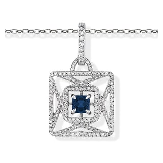 18k White Gold Sapphire and 7/8ct TDW Diamond Necklace (H-I, VS1-VS2)