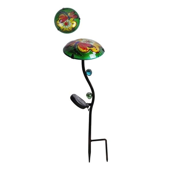 Peaktop Outdoor Garden Green Butterfly Glass Lantern