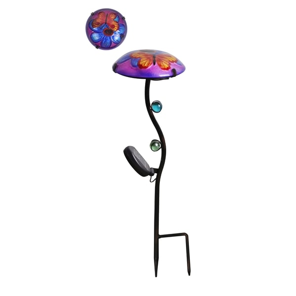 Peaktop Outdoor Garden Purple Butterfly Glass Lantern