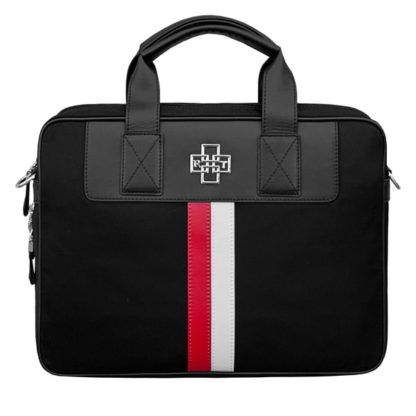 Rose Tree Elite Black with White and Red Stripe 15-inch Laptop Briefcase