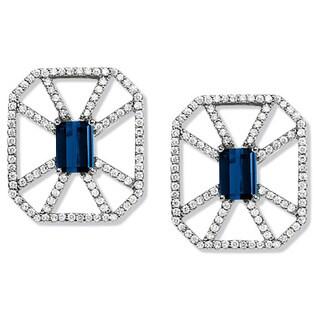 Estie G 18k White Gold Sapphire and 1/2ct TDW Diamond Earrings (H-I, VS1-VS2)