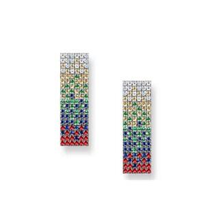 Estie G 18k White Gold Colored Sapphire Tsavorite and 1/4ct TDW Diamond Earrings (H-I, VS1-VS2)