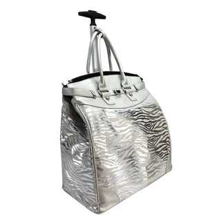 Canvas Silver Metallic Zebra Foldable Rolling Carry-on 14-inch Laptop/ Tablet Tote Bag