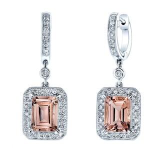Estie G 14k White Gold Morganite and 1/2ct TDW Diamond Earrings (H-I, VS1-VS2)