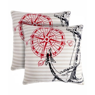 Slumber Shop Anchor Away Decorative 18-inch Throw Pillow (Set of 2)